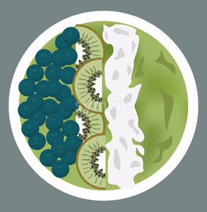 Green porridge with blueberries, kiwi slices and whipped cream on top. Vector Stock Vector