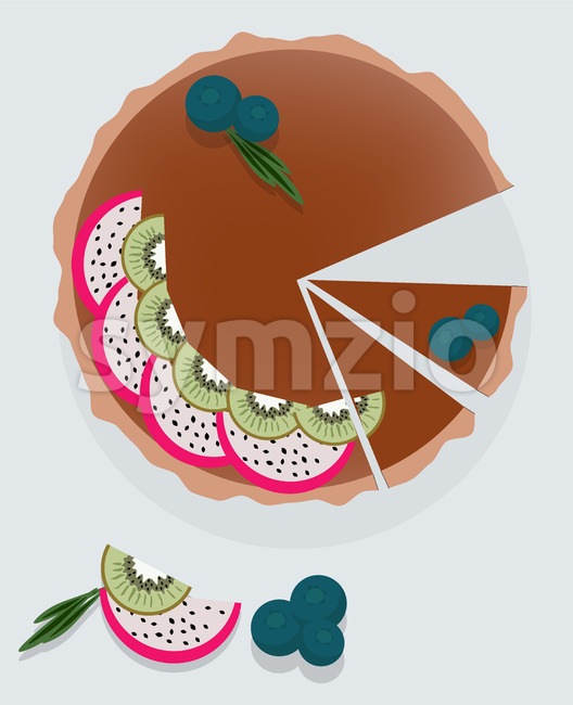 Chocolate cake with dragon fruit, kiwi and blueberry on top. Vector Stock Vector