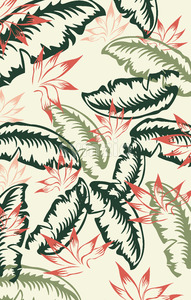 Red, green and dark green palm leaf pattern. Vintage design. Vector Stock Vector