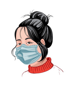 Chinese girl with dark hair and red sweater wearing a protective mask. Corona Virus idea. Vector Stock Vector