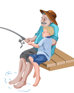 Old grandfather fishing with his grandson while sitting on wood pier. Catching a fish. Vector Stock Vector