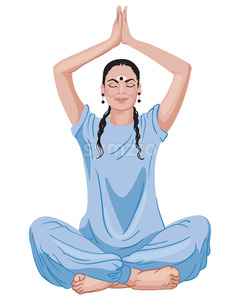 Mature oriental woman sitting in lotus position with hands up. Blue outfit and dark hair. Vector Stock Vector