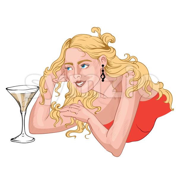 Elegant woman with blonde messy hair laying near a glass of martini with olive. Vector Stock Vector