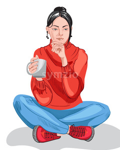Thoughtful young girl in colorful red sweater and blue pants drinking from a cup. Dark hair. Vector Stock Vector