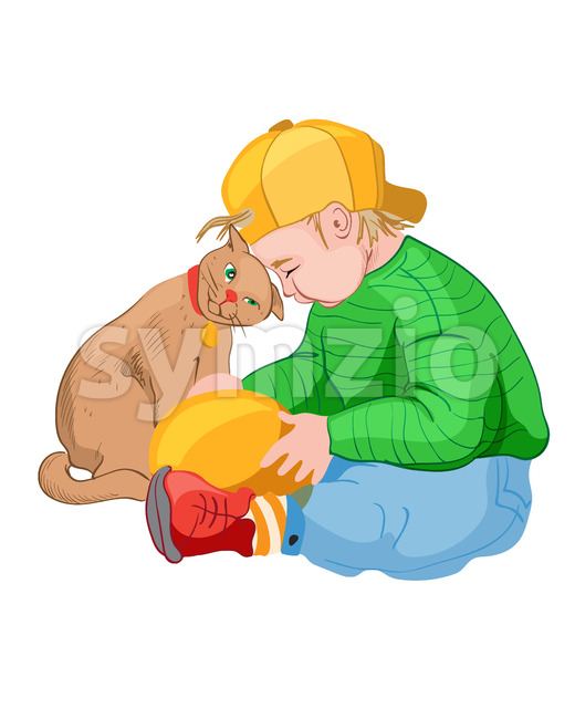 Little boy in yellow cap playing with a cat. Colorful clothes. Pet friend idea. Vector