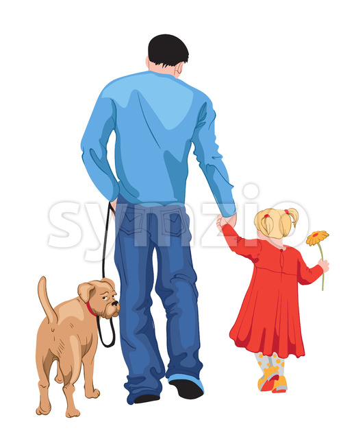 Man in blue t-shirt and jeans walking with his daughter in red dress with a yellow flower in her hand, ...