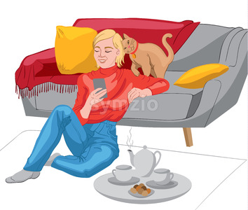 Happy woman dressed in red sweater and jeans looking in her phone while sitting on the floor and leaning on the sofa. Teapot, tea cups and biscuits on Stock Vector