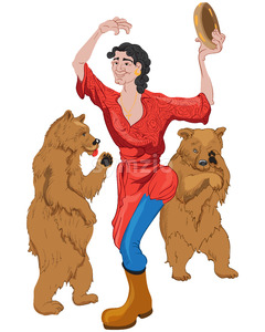 Joyful gypsy woman dressed in red dress with blue and yellow boots dancing with two bears. Vector Stock Vector