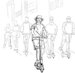 Young group of happy men riding on electric scooter in the city. Line art. Vector Stock Vector