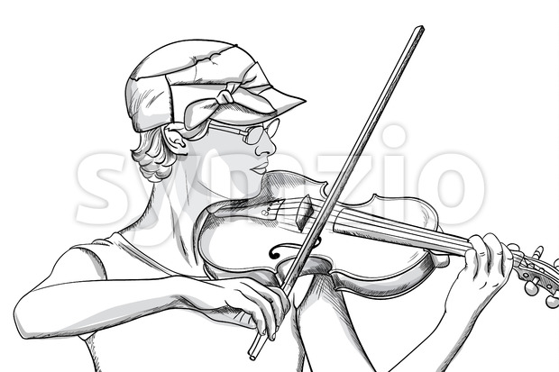 Young woman with glasses and hat playing o violin. Line art. Vector Stock Vector