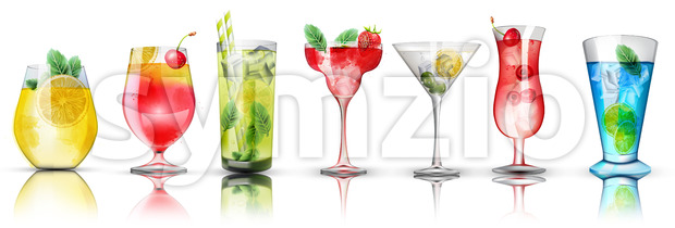 Set of colorful cocktails. Bright colors. Citrus and berries toppings. Vector Stock Vector
