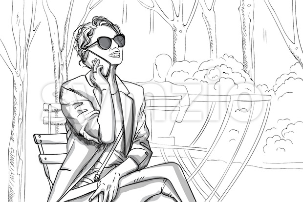Joyful woman in sunglasses and suit talking on the phone in park. Line art. Vector Stock Vector