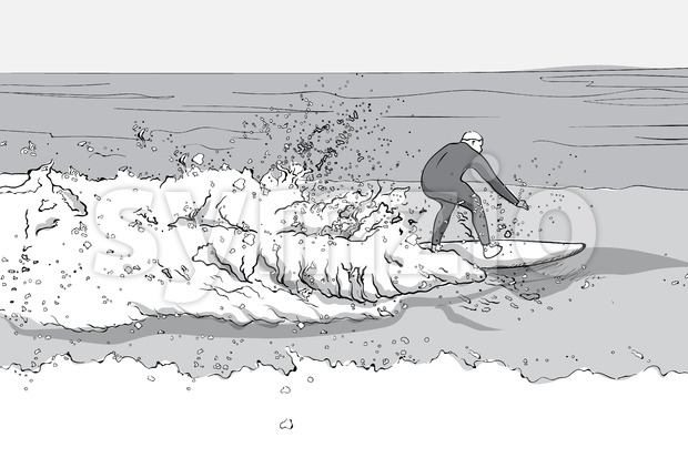 Man in dive suit surfing on a surfboard. Big waves. Line art. Vector
