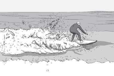 Man in dive suit surfing on a surfboard. Big waves. Line art. Vector Stock Vector