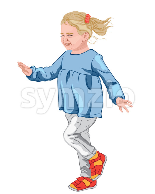 Little happy girl in blue blouse, white jeans and colorful shoes. Blonde hair with a red scrunchie. Vector