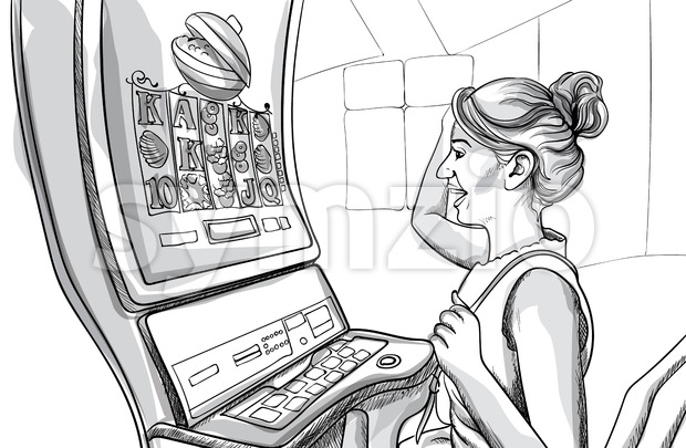 Young happy woman playing slots in casino. Line art. Vector