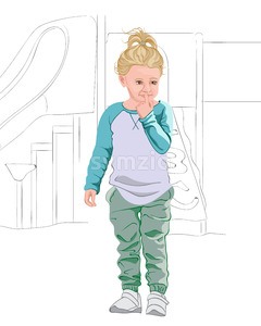 Thoughtful blonde kid in light blue and white t-shirt, pastel green pants and white sneakers. Thinking about a plan. Vector Stock Vector