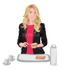 Happy blonde woman dressed in black jacket and pink blouse spreading some butter on bread. Cups, milk and bread on white table. Vector Stock Vector