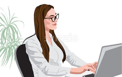 Cheerful brunette in white shirt and glasses working at the laptop. Vector Stock Vector