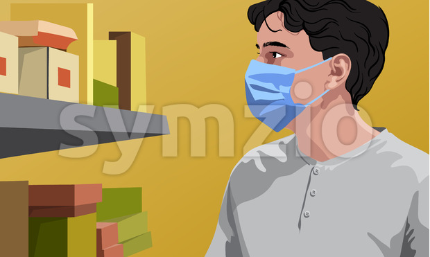 Man in white t-shirt wearing surgical mask looking at shelves with groceries. Yellow background. Vector
