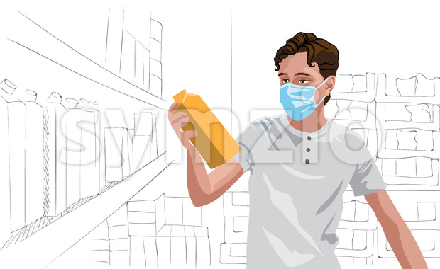 Young man in white t-shirt wearing protective medical mask looking at some milk in grocery store. Vector Stock Vector