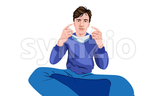 Young male with a serious face dressed in blue sweater and blue pants putting on a surgical mask. Vector Stock Vector