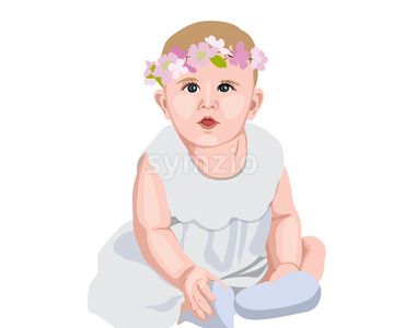 Joyful baby in white dress and socks with flower crown on head. Smiling and wondering. Vector Stock Vector