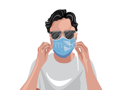 Adult in white t-shirt wearing protective medical mask and sunglasses. Vector Stock Vector