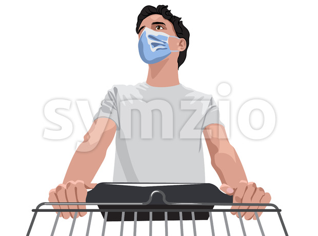Man in white t-shirt and protective medical mask walking with a shopping cart through grocery. Vector