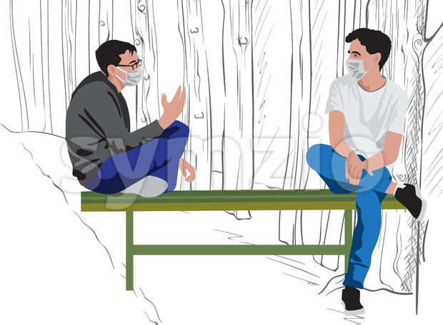 Two men with protective medical mask sitting on a green bench and talking in the park. Pandemy restriction lifted. Vector