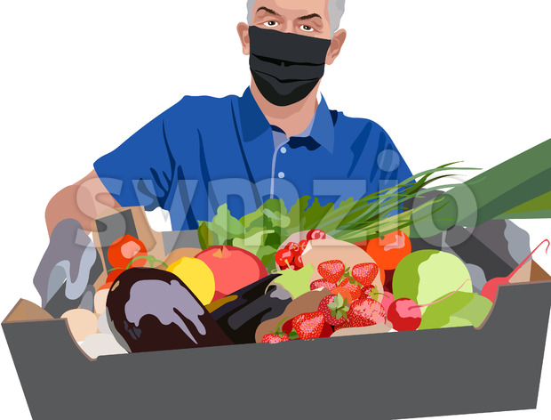Man wearing blue t-shirt, surgical mask and gloves holding a crate filled with strawberries, tomatoes, cherries, green onions, pomegranate, radish and Stock Vector