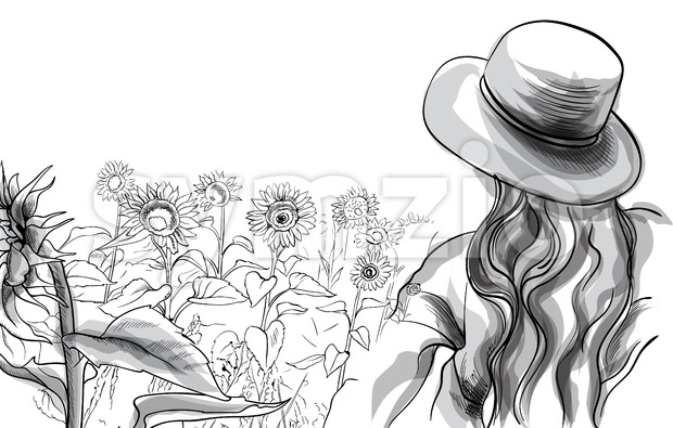 Long haired girl in a hat and blouse standing in sunflower field. Line art. Vector Stock Vector