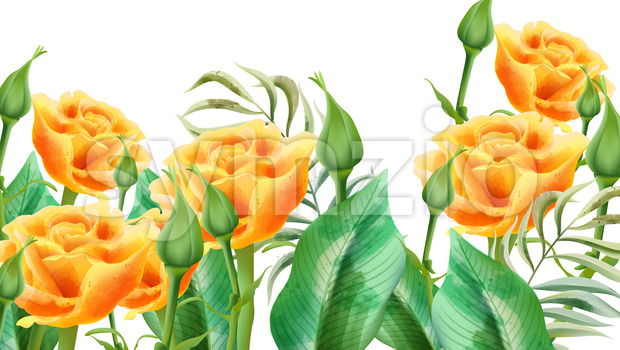 Floral composition of yellow roses, rosebuds and leaves. Vector Stock Vector