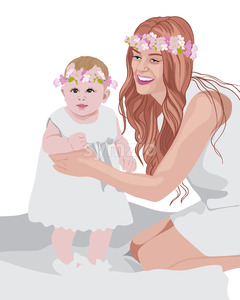 Joyful mom and her child wearing white dresses and floral crowns on head. Vector Stock Vector
