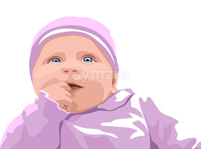 Surprised baby with blue eyes dressed in pink clothes. Holding finger in mouth. Vector Stock Vector