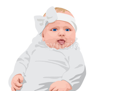 Blue eyed baby dressed in white clothes and white bow showing tongue. Vector Stock Vector