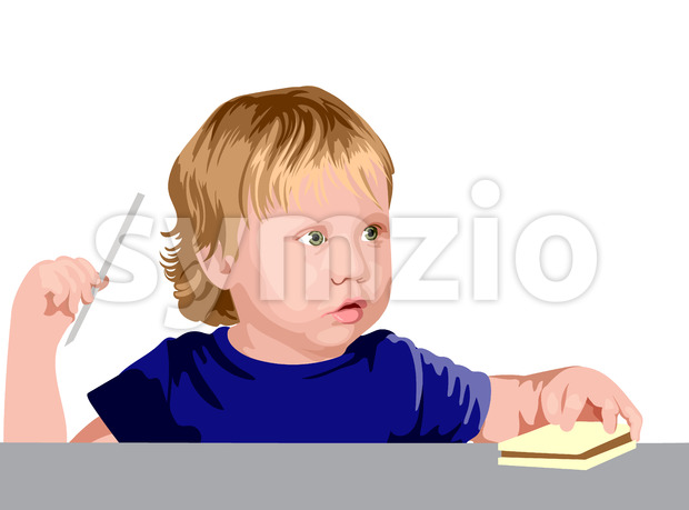 Blonde boy with green eyes in blue shirt looking surprised while holding a straw and a sandwich. Vector