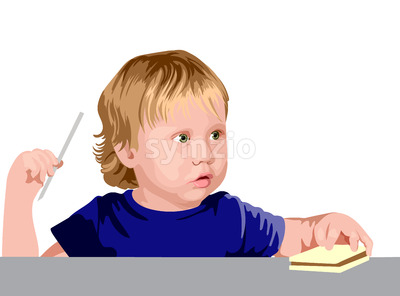 Blonde boy with green eyes in blue shirt looking surprised while holding a straw and a sandwich. Vector Stock Vector