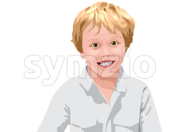 Blonde haired boy with green eyes in white shirt smiling. Vector