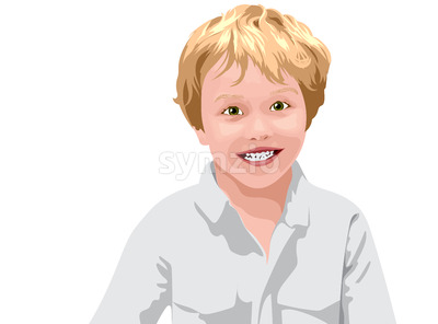 Blonde haired boy with green eyes in white shirt smiling. Vector Stock Vector