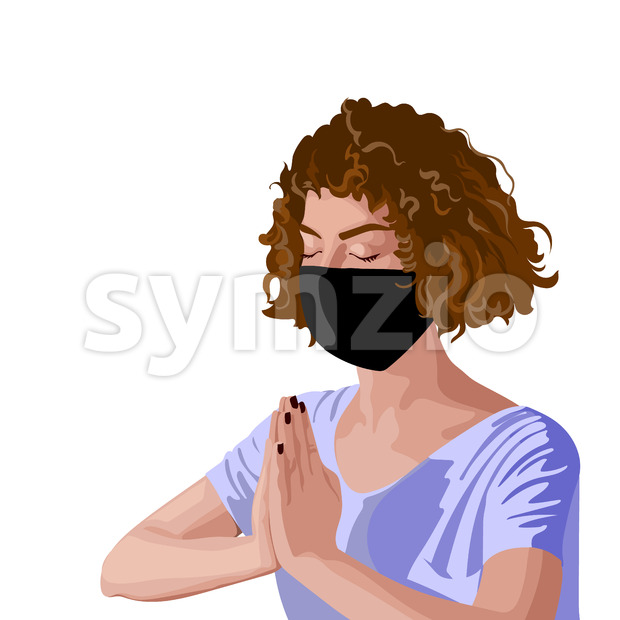 Brunette girl with curly hair in pink t-shirt and black surgical mask meditating. Corona virus solo activity in nature. Vector