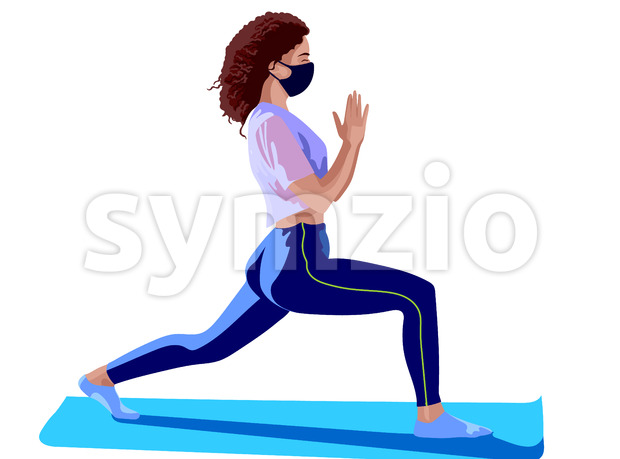 Brunette girl dressed in pink top, blue leggings, white socks and surgical mask doing yoga on blue training mat. Corona virus solo activity in nature. Stock Vector