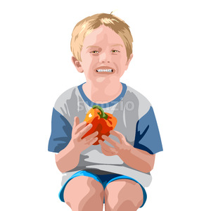 Blonde boy in blue shorts and t-shirt, smiling and holding a bell pepper. Vector Stock Vector