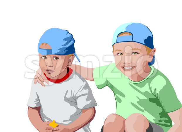 Two blonde boys in blue caps and t-shirts smiling. Holding each other. Vector Stock Vector