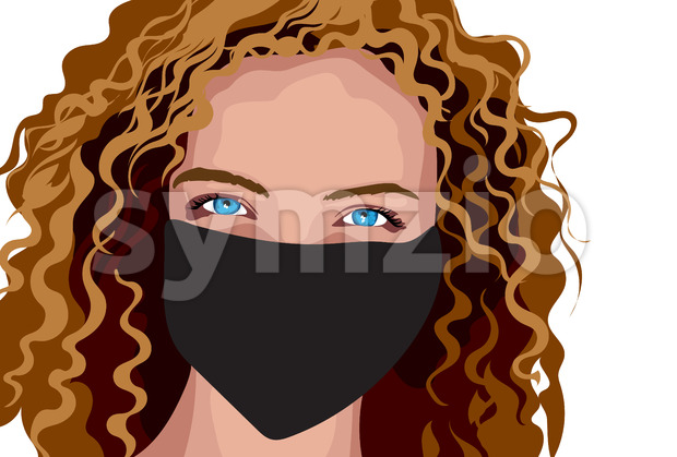 Blue eyed girl with brown curly hair in surgical mask. Vector Stock Vector