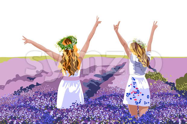 Two blonde women in white dresses with floral crowns on head standing in lavender field with their hands up. Enjoying nature. Vector Stock Vector