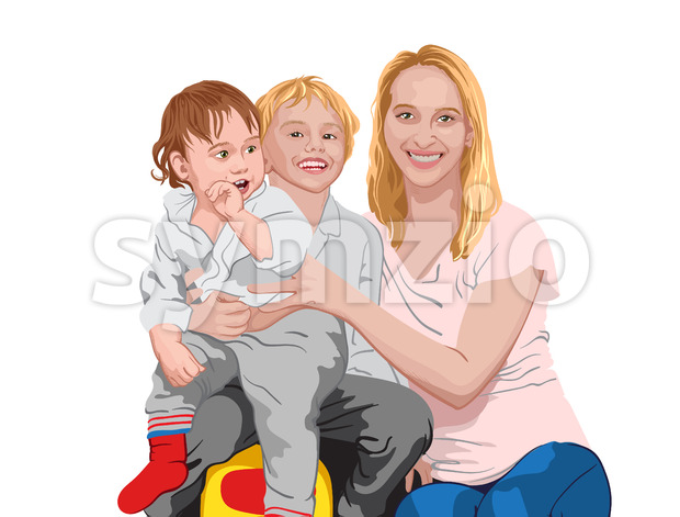 Happy family. Mom cuddling her two sons. Smiling children and mother. Vector Stock Vector