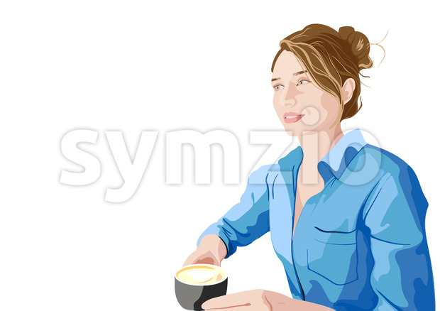 Joyful woman in blue shirt enjoying a cup of coffee. Vector Stock Vector