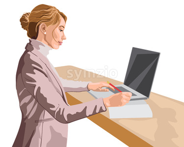 Blonde woman dressed in pink jacket and sweater working at her laptop while standing. Vector Stock Vector