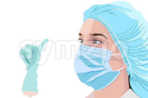 Female doctor in surgical mask, hat and gloves showing thumbs up. Vector Stock Vector